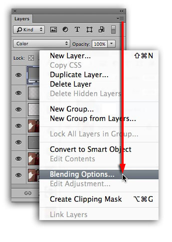 Blending Options Menu