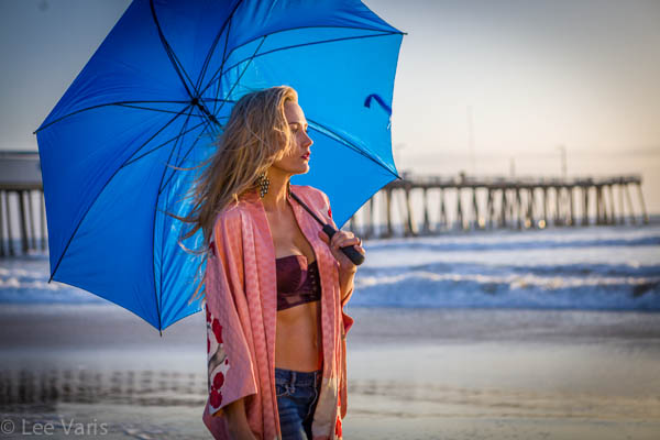 Amanda with Blue Umbrella