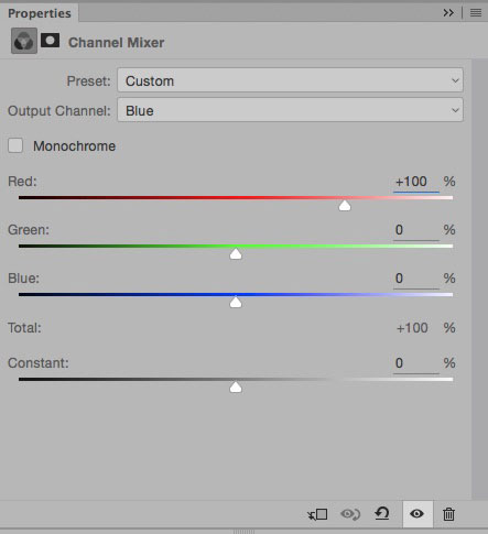 Channel Mixer blue channel