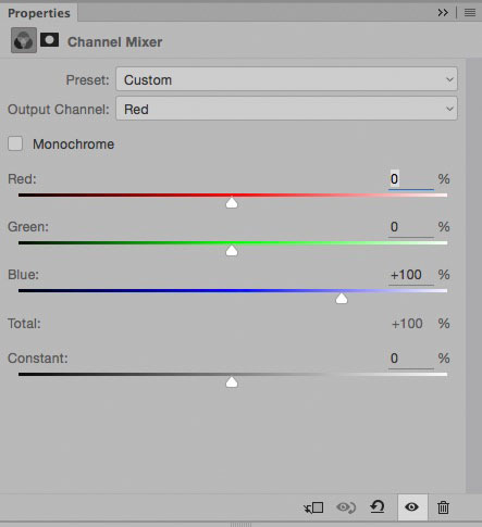 Channel Mixer settings for red channel