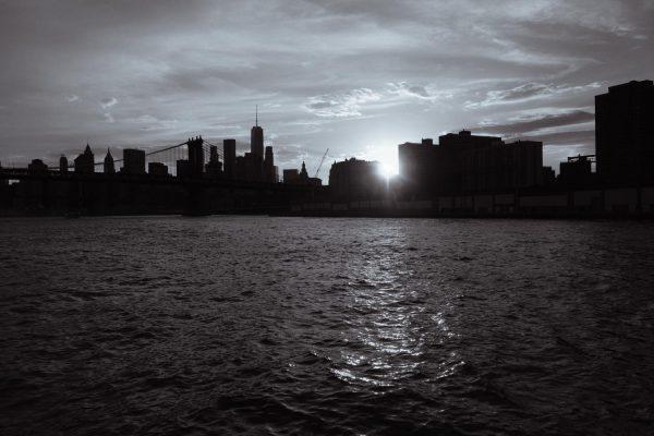 Skyline into the sun